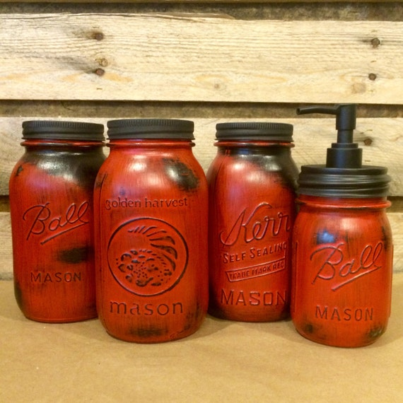 Kitchen Jars Set: Red Mason Jar Canisters Rustic Red Canister Set With Soap