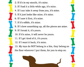 Dachshund Property Laws 5x7 - Printable Instant Download