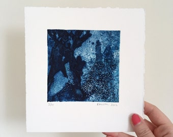 Blue abstract collograph Print, Seaweed and Coral, Ocean Print, Blue original Art, Wall Art