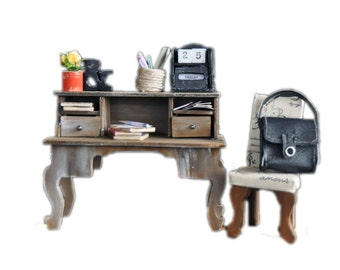 MiniMolly Dollhouse Furniture  Desk, Chair, Office, books, and accessories