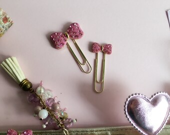 bling bling Pinky ribbon clips set/paperclips/planner clips/planner decoration