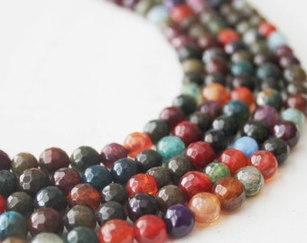 Gemstone Beads 6mm Multi Color Faceted Agate Beads Colorful Beads Full Strands