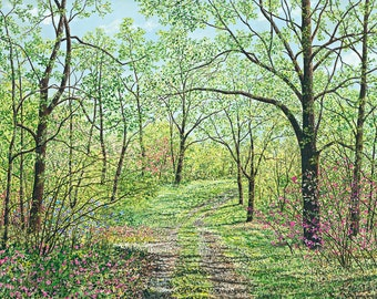 Forest Painting - Green Landscape Painting - Nature Print - Forest Path - Country Landscape - Matted Print