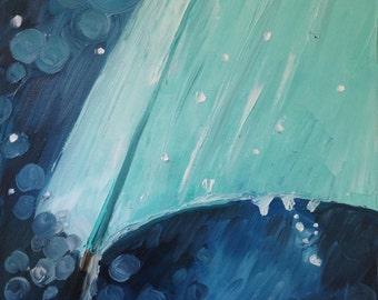 The Wet Umbrella, Original 12x12 Oil Painting on Canvas