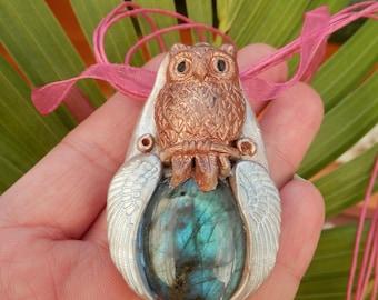 Labradorite Spirit Owl ~ Totem Animal Necklace