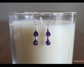Purple Swarovski crystals and sterling silver earrings