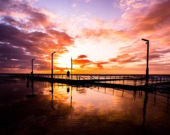 MakeForGood Red Sunrise fine art photo, Australian beach photography