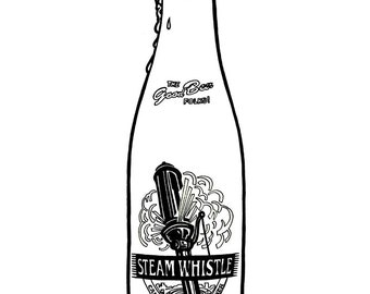 Steam Whistle Pilsner bottle - Hand-drawn illustration print