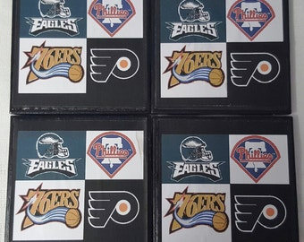 Philadelphia Sports Teams Ceramic Tile Drink Coasters / Philly Sports Teams Coaster Set / Set of 4