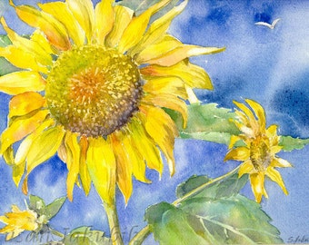 Sunflower Watercolor, Sunflower Painting, Archival Print
