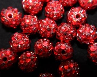 """Red Rhinestone Disco Ball Beads (3/8"""")"""