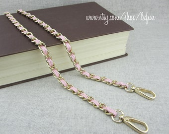 9mm Chain Purse Strap with Pink Synthetic Leather Weaved Through
