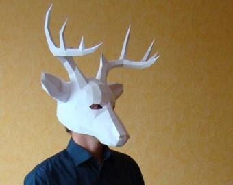 Deer Mask, Stag mask, printable DIY PDF template, Party Mask Papercraft Halloween mask, Reindeer