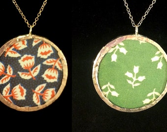 Floral Fabric Pendant (Reversible/Double-sided)