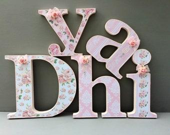 white cream,vintage roses,handmade, wooden letters,baby girl,room nursery,bedroom,free standing,wall hanging,customised,decorated letters,