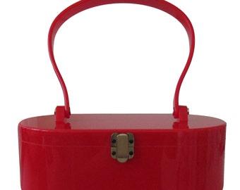 Red Vintage-inspired handbag (rockabilly, pinup, retro)
