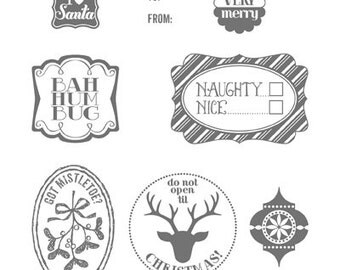Stampin Up! Very Merry Tags Wood Mount Stamp Set
