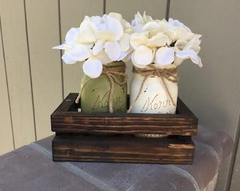 Custom Painted Mason Jars with Planter Box, custom made, with optional floral arrangment, centerpiece, 2 jar holder