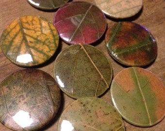 2.5cm/1 inch leaf button/badge/pins
