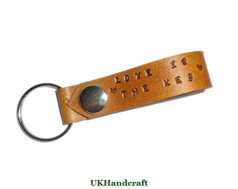 Personalized Leather Keychain, Personalised Leather Keychain, Leather Lanyard, Personalized Gift, Personalised Gift, Custom Wording, Gift