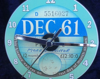 Vintage 1961 TAX DISC CD Clock (Can be Personalised)