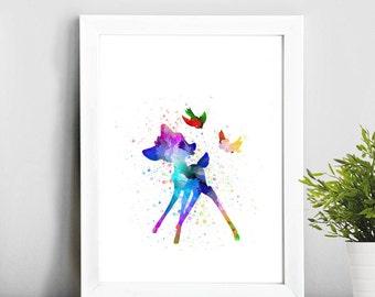 Bambi Walt Disney, Watercolor Art, Illustration Print, Home Decor, Baby Art, Gift Idea, Nursery,