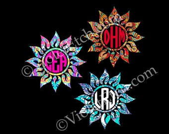 Circle Monogram-Yeti Decal-Cup Decal-Circle Monogram Decal-Lilly Inspired-Sun Monogram-Window Decal-Custom Decal-Laptop Decal