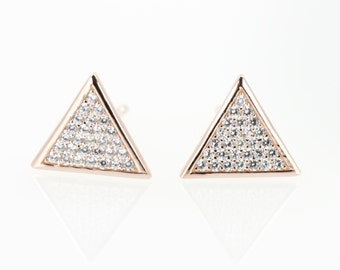 Triangle CZ Paved Studs, Sterling Silver Posts, Triangle Earrings, Trending Items, Simple Jewelry, Triangle Studs, Rose Gold Earrings