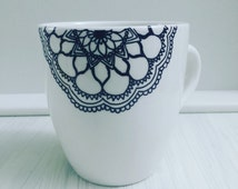 Hand Decorated/Drawn Mug-Tea-Coffee-Mandala/Zentangle Design