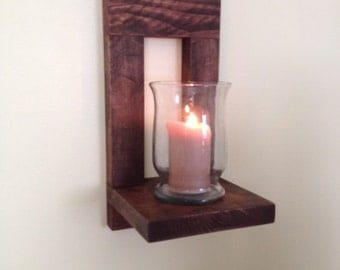 Wooden Candle Holder,  Wood Wall Sconce, Rustic Candle Holder, Mason Jar Sconce, Rustic Wall Decor, Housewarming Gift, Farmhouse Décor, Gift