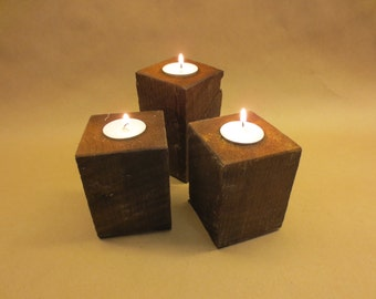 Rustic Wooden Tea Light Centerpiece 3xset