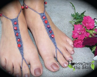 Handmade Red on Gun Metal Crocheted Barefoot Sandals/Foot Jewelry/Bling for Feet/Tantalizing Tootsie Travelers