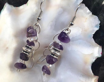 Handmade Genuine Purple Amethyst Natural GemStone Crystal Ornate Silver Chain Beaded Dangle Earrings jewelry