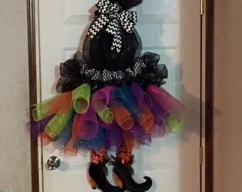 Door Decor, Halloween Wreath, Witch Wreath, Front Door Decoration