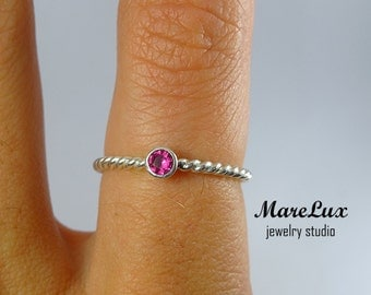Braided 3 mm Ruby Silver Ring, Pink Corund Stackable Ring, Pink Stone Sterling Silver Braided Synthetic Ruby Engagement Ring, Ruby Stacker