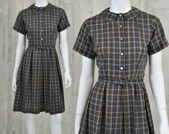 Early 60's Vintage Women's XS Handmade Peter Pan Collar Plaid Casual Dress