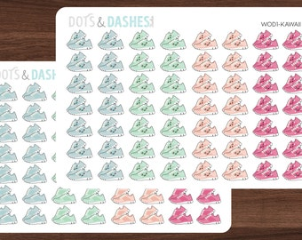 WOD1, Running stickers, Kawaii running stickers, workout planner stickers, workout stickers, tennis , running shoes, Kawaii workout sticker