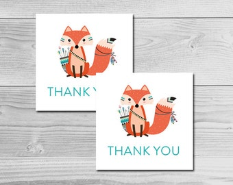 Tribal Woodland Fox Animal Baby Shower - Thank You Tags - Instant Download Printable