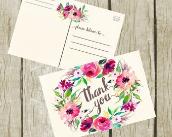 Thank You Postcard. Thank you Card Printable, Purple Floral Thank You Postcard 4x6, Digital Postcard, Instant Download