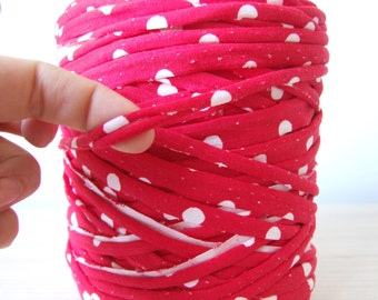 Red polka dot T-shirt yarn, recycled t shirt yarn, tshirt yarn, recycled cotton yarn, multicolor yarn, tricot yarn, jersey yarn 10 yards