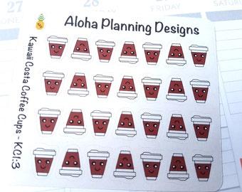 KC1-3 Kawaii Costa Coffee Cup Stickers (Large)