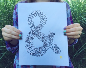 Hand-Drawn Digital Print / Succulent Ampersand / Home Decor / Birthday Gift / Office Decor / 8x10""