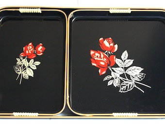 Vintage Lacquer Ware Toyo Red Rose Serving Trays - Set of Three - Lacquerware Nesting Tray Set - Made in Taiwan