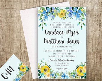 Floral Wedding Invitation Printable Boho Chic Wedding Invitation Suite Bohemian Wedding Invite Modern Typography Spring / Summer Wedding