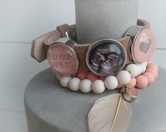 Ultrasound bracelet, Personalized bracelet, photo bracelet, leather bracelet, personalized jewelry, photo jewelry, jewelry for new mom