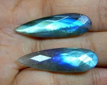 Labradorite Gemstone Faceted Cabochon / Labradorite Cabs / Teardrop shape Size 9x10.mm Approx 30 MM Long