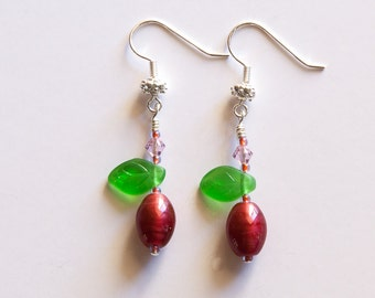 Raspberry & Green Glass Earrings