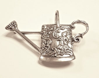 STERLING SILVER BROOCH ~ Watering Can ~ Art Nouveau Style ~ Pendant ~ Gardener's Gift ~ Mother's Day Gift