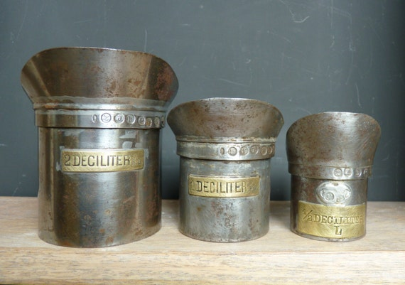 French Antique Metal Measuring Cups Deciliter Measuring Cups