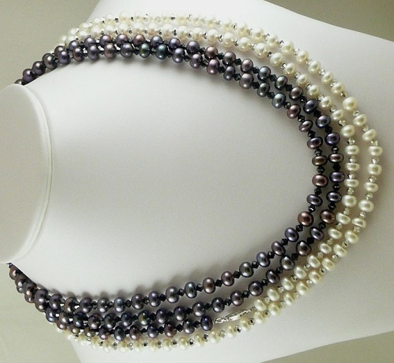 Black and White Fresh Water Pearl Necklace with Black and Comet Czech Crystal 100""